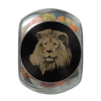 Sepia Lion Glass Jar