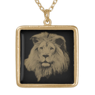 Sepia Lion Gold Plated Necklace