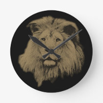 Sepia Lion Round Clock