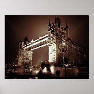 Sepia London Tower Bridge at Night Poster