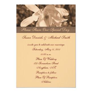 "Sepia Magnolia Flower Wedding Invitation 5"" X 7"" Invitation Card"