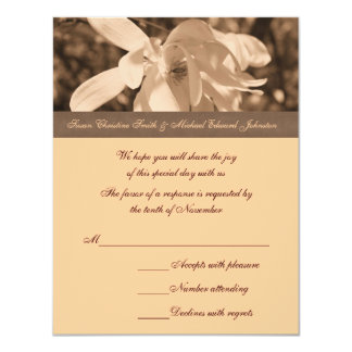 Sepia Magnolia Flower Wedding Response RSVP Card Personalized Announcement