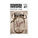 Sepia Mason Jar LOVE Wedding Postage Stamps