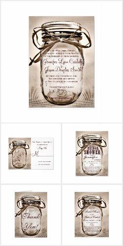 Sepia Mason Jar Wedding Invitation Set