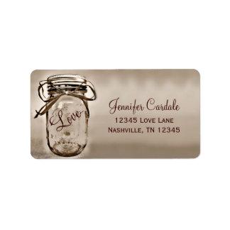 Sepia Mason Jar Wedding Return Address Labels