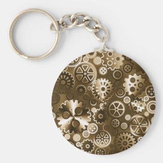 Sepia metallic gears keychain