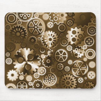Sepia metallic gears mouse pads