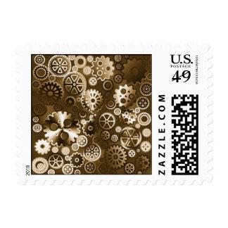Sepia metallic gears postage stamp