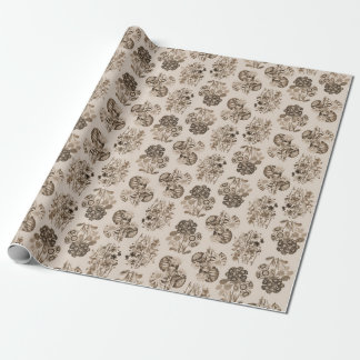 Sepia Monochrome Floral Wrapping Paper