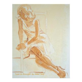 Sepia monocromática de la pintura de la mujer eleg flyer a todo color