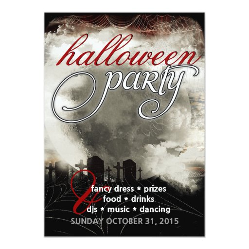 Sepia Moon Cemetery Dreams Halloween Party Invites