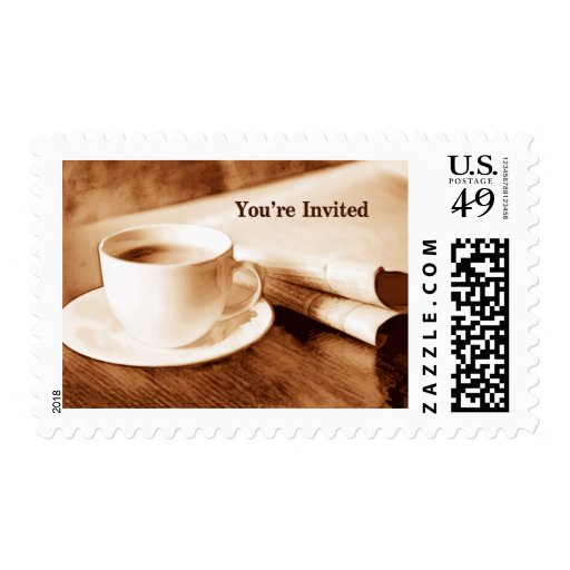 Sepia Morning Newspaper & Coffee You're Invited Postage Stamp