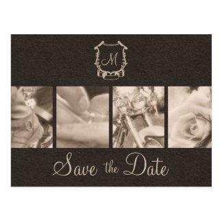 Sepia Motorcycle Photos Save the Date Announcement Postcard