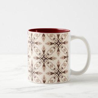 Sepia Neo Victorian Woodland Fractal Two-Tone Coffee Mug