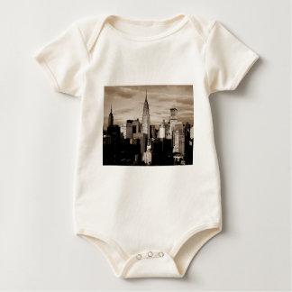 Sepia New York City Ink Sketch Baby Bodysuit