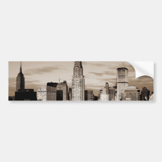 Sepia New York City Ink Sketch Car Bumper Sticker