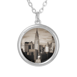 Sepia New York City Ink Sketch Round Pendant Necklace