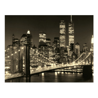 Sepia New York City Night Postcard