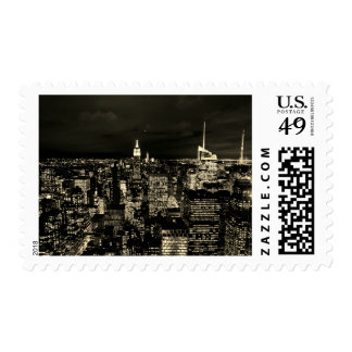 Sepia New York City Night Skyline Postage