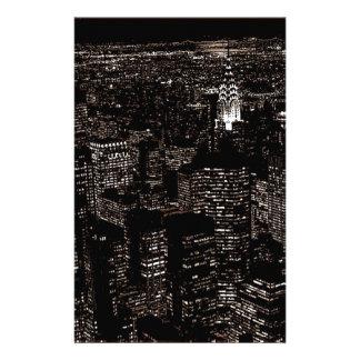 Sepia New York City Night Skyline Stationery