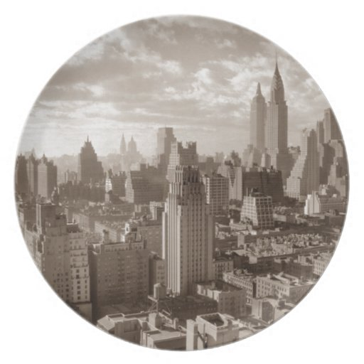 Sepia New York City Party Plates