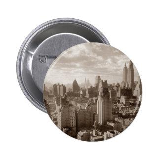 Sepia New York City Pin Redondo De 2 Pulgadas