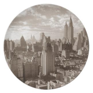 Sepia New York City Plato Para Fiesta
