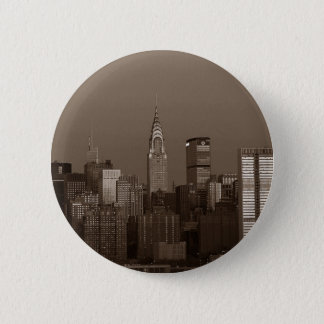 Sepia New York City Skyline Button