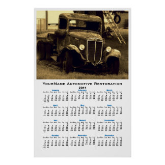 Sepia Old Time Vintage Truck Auto Wall Calendar Poster