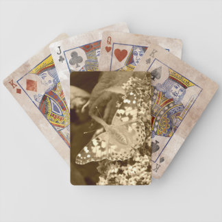 Sepia Painted Lady Butterfly Bicycle Playing Cards