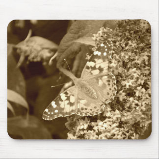 Sepia Painted Lady Butterfly Mouse Pad