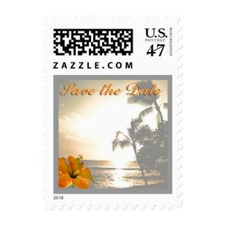Sepia Palm Tree Shoreline Postage