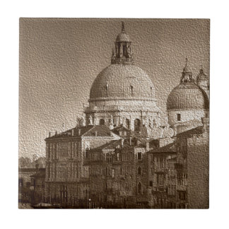 Sepia Paper Effect Venice Grand Canal Ceramic Tile