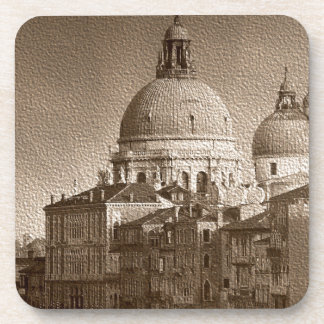 Sepia Paper Effect Venice Grand Canal Drink Coaster