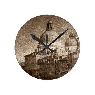 Sepia Paper Effect Venice Grand Canal Round Clock