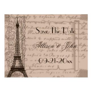 Sepia Parisian Save The Date Postcard