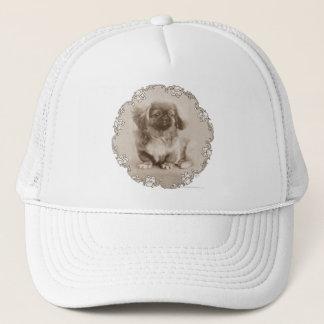 Sepia Pekingese Portrait Trucker Hat