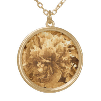 Sepia Peony Gold Plated Necklace
