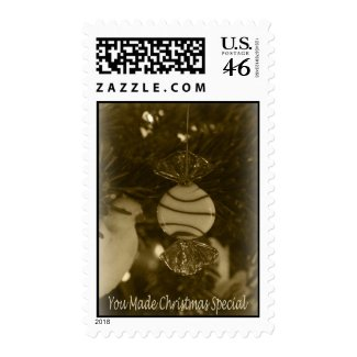 Sepia Peppermint Ornament Postage