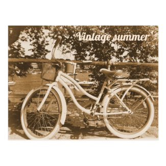 Sepia Photo of Bicycle on Postcard