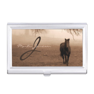 Sepia Photograph if the Old Oak and the Steed Case For Business Cards