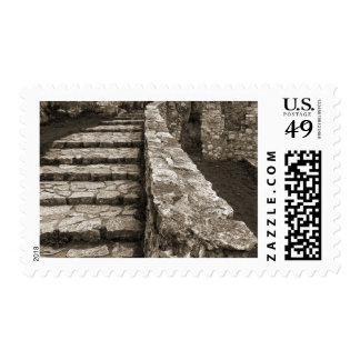 Sepia Picture Of Steps In Spis Castle In Slovakia Stamps