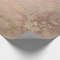 Sepia Pink Rose Gold Floral Cottage Grungy Damask Wrapping Paper