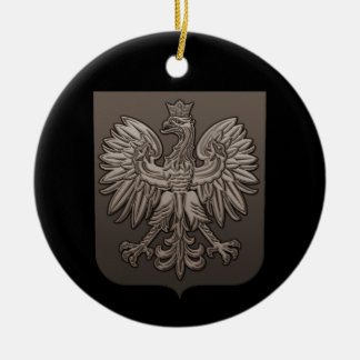 Sepia Polish Eagle Shield Ceramic Ornament