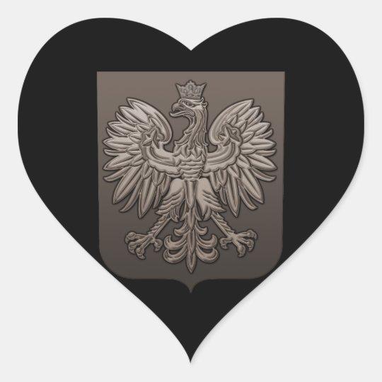 Sepia Polish Eagle Shield Heart Sticker