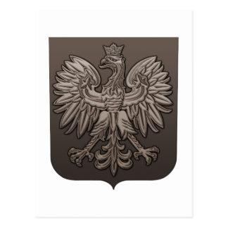 Sepia Polish Eagle Shield Postcard