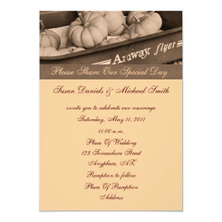 "Sepia Pumpkins In Wagon Fall Wedding Invitation 5"" X 7"" Invitation Card"