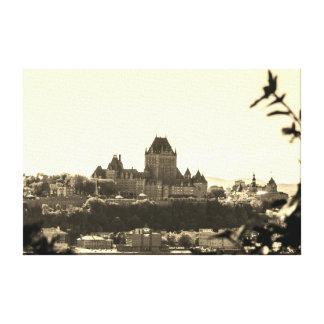 Sepia Quebec Cityscape Canvas Print
