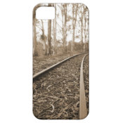 Sepia Railroad Tracks in Forest iPhone 5 Case