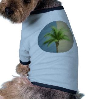 Sepia retra de la crema de las azules turquesas de camiseta con mangas para perro